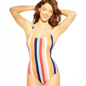 Kona Sol Stripe One Piece Swimsuit Size Large